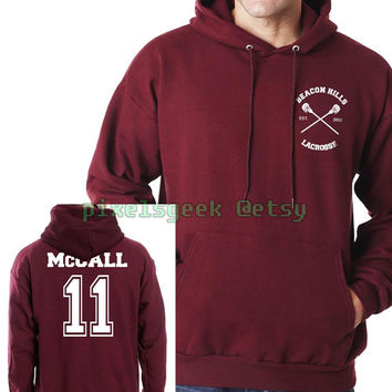 McCall 11 scott mccall White ink Beacon hills lacrosse teen wolf Unisex Pullover Hoodie