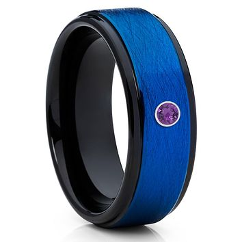 Black Tungsten Wedding Band - Amethyst Wedding Band - Black Tungsten