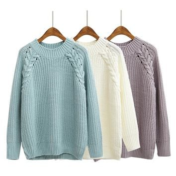 Women'S Kawaii Solid Color Twisted Raglan Sweater Korean Coarse Knitting Jumper Thick Cute Retro Loose Pullover For Women