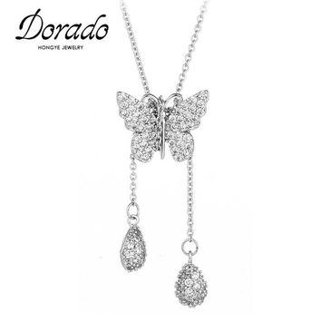 Dorado Luxury Original Fashion Jewelry Full AAA Zircon Butterfly Necklaces & Pendants For Women Top Quality