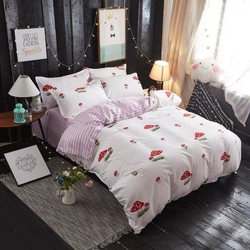 white duvet cover set bedding set Pink fruit Strawberry duvet cover 100% Linen super king queen Home textile luxury quilt set