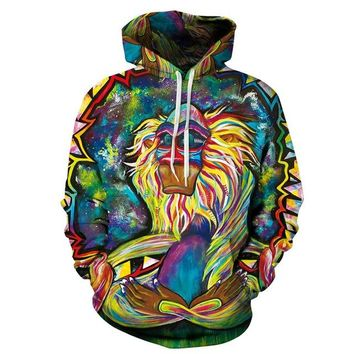 Graffiti Rasta Monkey Senior Meditation Rafiki 3D Hoodie