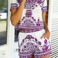 Purple Tile Print Two Piece Shorts Set