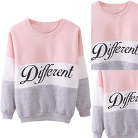Color Block Letter Print Knit Sweatshirt