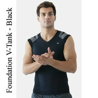 Foundation V-Tank, Black Men's Compression Shirt | IntelliSkin