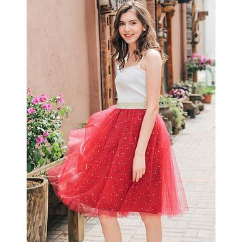 Summer Women Star Glitter Dance Tutu Skirt For Lady Sequin 4 Layers Tulle Adult Lace Pettiskirt Women Chiffon