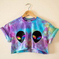 Alien Galaxy Tie Dye Crop Top T-shirt Grunge 90's Hipster Festival Acid Tumblr Purple + Pink + Blue + Yellow Small / Medium / Large / XL