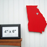 Georgia Bulldogs 'State Heart' wall art, handcrafted wood with official team colors