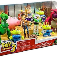 Disney Toy Story 3 Exclusive 10 Piece Deluxe Action Figure Set Buzz, Bullseye, Hamm, Jessie, Lotso, Rex, Woody 3 Aliens