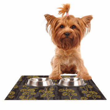 "Neelam Kaur ""Textured Floral Elegance"" Brown Yellow Dog Place Mat"