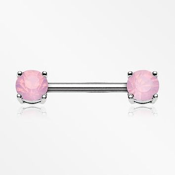 A Pair of Opalite Gem Sparkle Prong Nipple Barbell