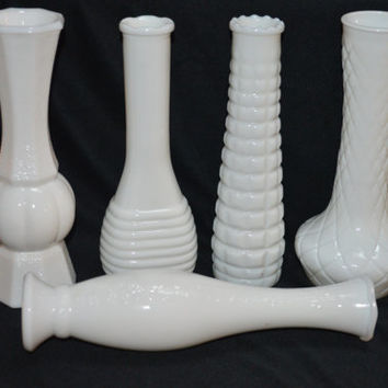Milk Glass Tall Bud Vases-Mixed Lot of 5