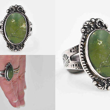 Vintage Navajo Sterling Silver & Green Turquoise Ring, Oval, Stamped, Spiral, Rope Details, Native American, Size 6 1/4, Nice! #c409