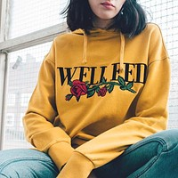 Fall Winter Long Sleeve Print Floral Yellow Pullover Hoodies [11885423503]