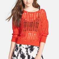 Rubbish Dolman Sleeve Open Knit Pullover (Juniors)