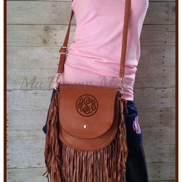 Monogrammed Brown Fringe Handbag - Boho Cross body - Fringe Purse - Brown Pocketbook - Hippie Bag - Faux Leather - Personalized handbag