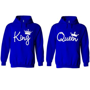 King and Queen Write Royal Blue Hoodie