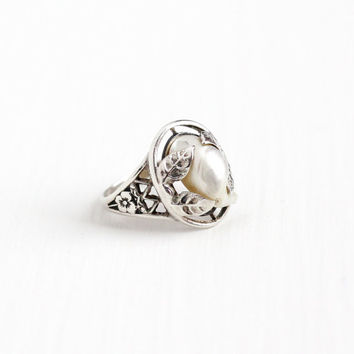 Vintage Art Deco Sterling Silver Baroque Pearl Ring - 1930s Size 4 1/4 Flower Filigree White Gem Unique Statement June Birthstone Jewelry