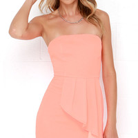 Too Hot to Trot Neon Coral Strapless Dress