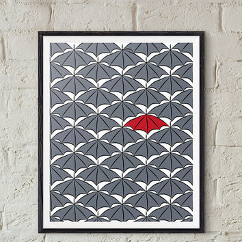Be Different Pribtable, Umbrella Wall Art, Kids Room Wall Decor, Nursery Wall Art Download, Optimistic Art Print, Grey and Red Contrast
