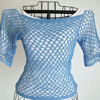 size medium crochet blue mesh top 100% cotton crochet thread