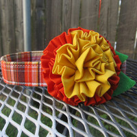 Designer Dog Collar CUSTOM Orange & Brown Plaid Dog Collar with Yellow and Orange Ruffle Flower - Autumn Peony