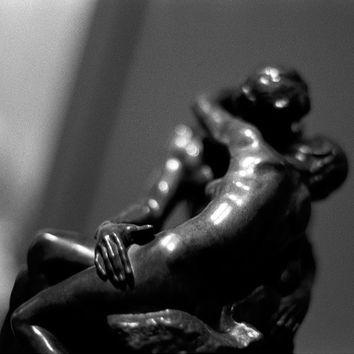 The Kiss // Black & White Fine Art Film Photography // Statues Embracing // Wall Art // 11x14 Giclée Print