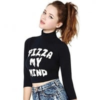 New Stylish Lady Women's Fashion 3/4 Sleeve Letter Print Turtle Neck Casual Crop Top