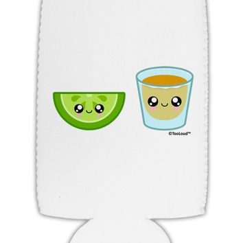 Cute Tequila Shot and Lime Wedge Collapsible Neoprene Tall Can Insulator by TooLoud