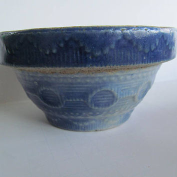 Small Primitive Blue and White Yellowware Bowl  Blue Stoneware Bowl Blue Pottery Bowl Farmhouse Antique Batter Bowl Primitive Decor