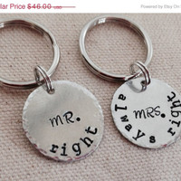 MothersDaySale His and hers personalized Keychains. Handstamped. Cute gift for parents, grandparents, family, friends. Set of two Keychains.