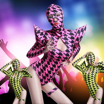 Europe Fashion Women Swallow gird Costume Sets Ds hip hop dance singer Houndstooth Performance wear Sexy Neon One piece Bodysuit