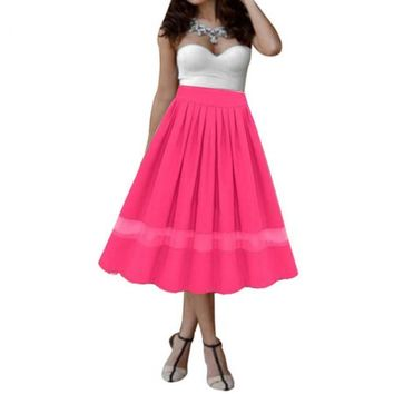 Pleated Skirt Women Ladies Elegant Stretch High Waist Plain Flared Tulle Long Maxi Chiffon Skirt #LYW