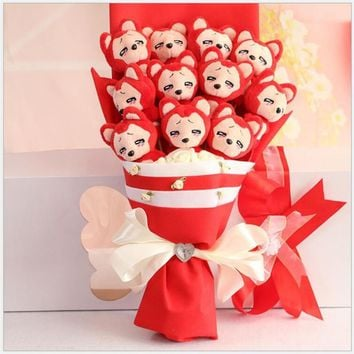 New style Plush&stuff Animal toys doll cartoon bouquets flower Creative Valentine's Day gifts Christmas gift free shipping