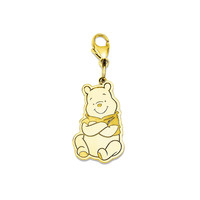 925 Yellow Gold Flashed Silver Disney Winnie The Pooh Charm Pendant - 29 mm
