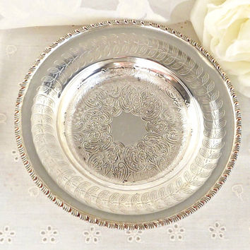 FALL SALE Silver Plated Ring Dish, Silver Jewelry Dish, French Farmhouse Decor, Shabby Chic Decor, Silver Catch All Dish, Boudoir Decor