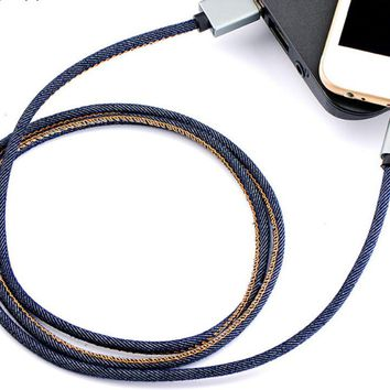 40in Long Denim Leather iPhone 7 7 Plus &iPhone 6s 6Plus se 5s Lightning Fabric Braid Cable USB Charger Sync +Gift Box