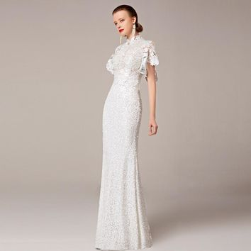 2016 Coniefox Trumpet New Styles Beaded Lace Mermaid White Wedding Prom Evening Elegant Jersey robe de soiree Long Dress 31211