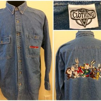 Mens Acme Clothing Looney Tunes Embroidered Long Sleeve Denim Jean Shirt Size XL