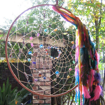 Large Dream Catcher of the Rainbow of Dreams Dreamcatcher,native woven crystal beaded crystals beautiful rainbows