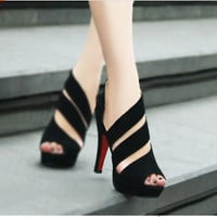 Womens Korean open toe hollow stilettos Roman Suede sexy high heel sandals W74