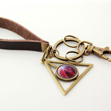 Nebula Key Chain- Christmas Tree star cluster & the Cone Nebula- Leather Chain Brass Planet Pendant Key Chain