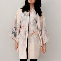 Vintage Kimono Boho Chic Jacket Robe Japanese Pastel Watercolor Intricate Embroidery - One Size Fits All