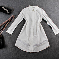 Casual Doll Collar Button Down Long Sleeve White Mini Dress