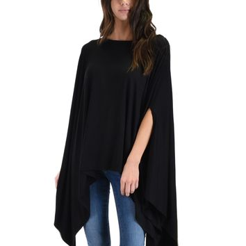 SL3869 Black 3/4 Sleeve Over-sized Poncho Cape Top