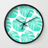 TROPIC - TURQUOISE - MONSTERA Wall Clock by NORDIK