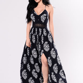 Holy Slit Dress - Navy