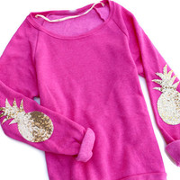 Womens Pink Pineapple Elbow Patch Sweatshirt Jumper