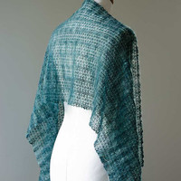 Knitted silk and mohair summer lace shawl, stole wrap in colour petrol blue hand dyed yarn OOAK