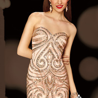 Alyce Paris 4378 - Pink Champagne Strapless Beaded Prom Dresses Online